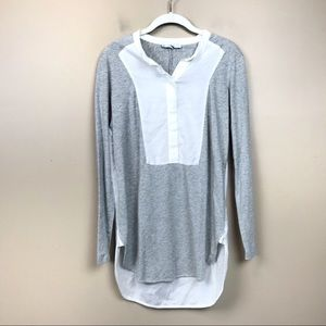 Vince Gray white long sleeve tunic top small